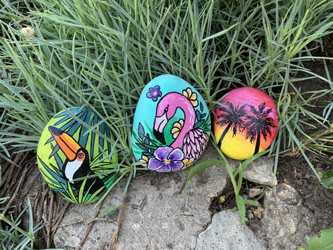 tropical paradise rock painting