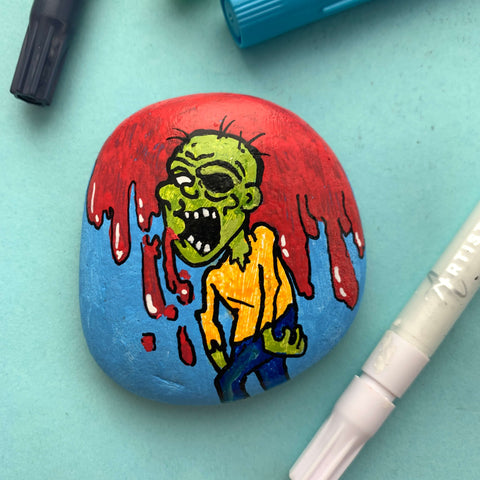 Zombie Style Trick or Treat Rock Painting ideas