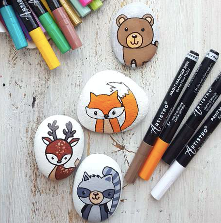 Cute Forest Family animals Rock Painting ideas