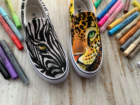 Sneakers zebra and tiger