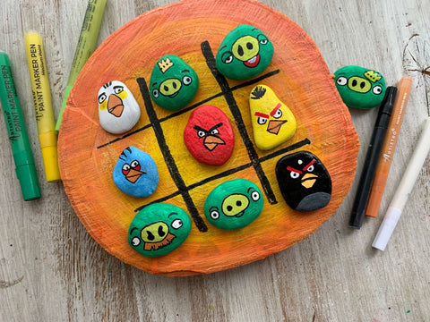 Angry Birds Tic Tac Toe Rock Painting