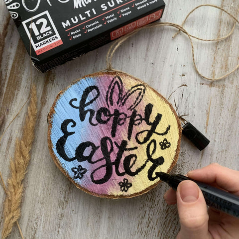 Happy Easter wood slice drawing