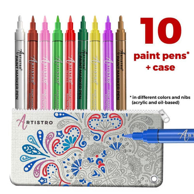 10 Artistro paint pens with unique Artistro design canvas marker case ready to color - Artistro