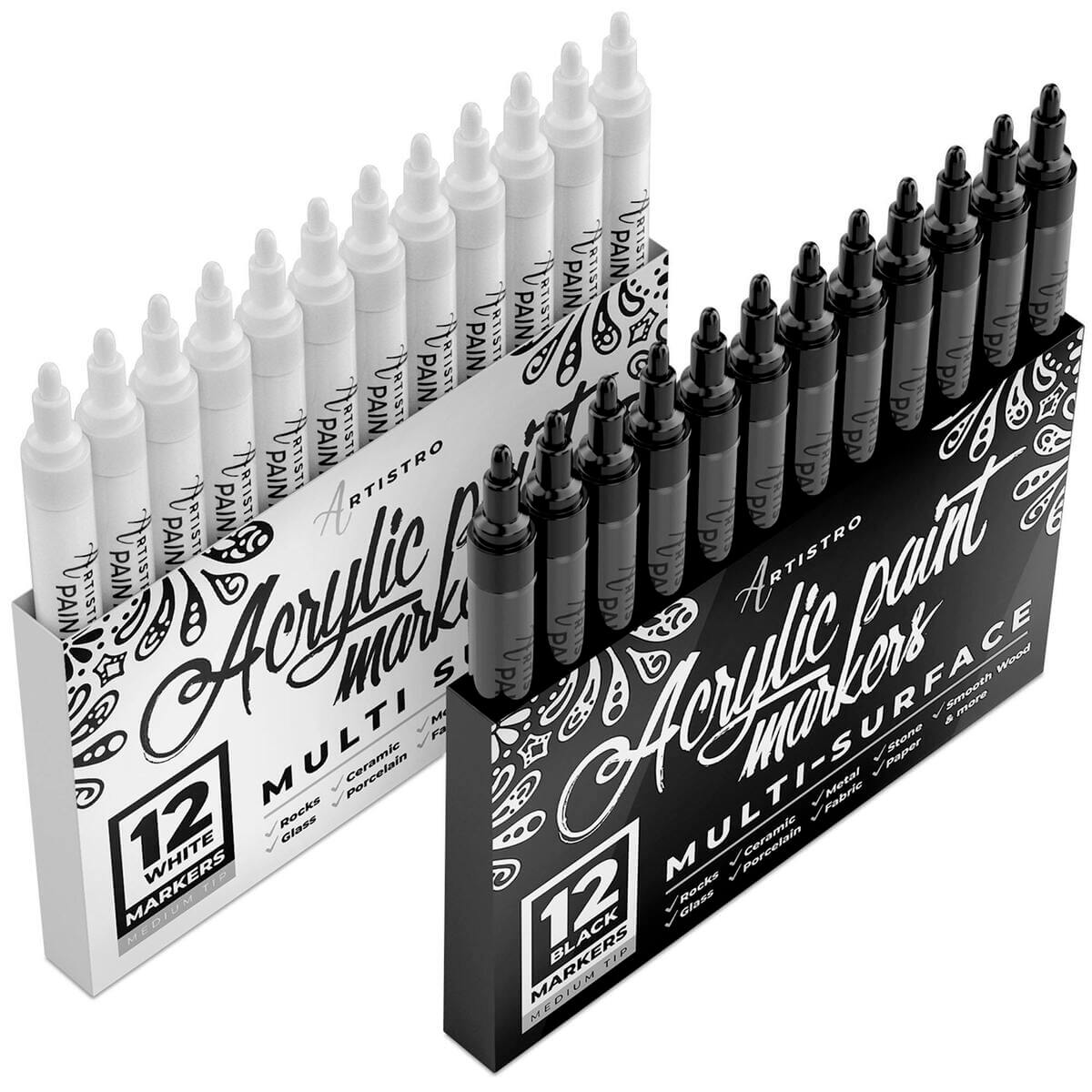 black and white paint pens