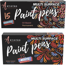 27 Artistro Paint Pens | 12 Extra Fine Tip Metallic Markers + 15 Fine Tip Oil Based Markers for Rock Painting, Wood, Glass, Ceramic - Artistro
