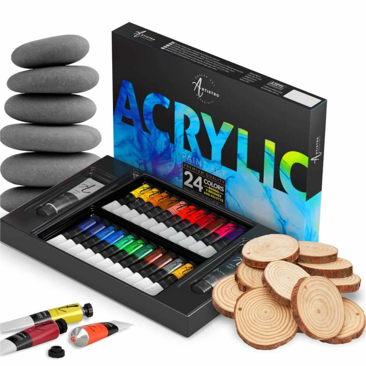 30 Acrylic Paint Markers Medium Tip (2mm) - Great for Rock Painting, Wood, Fabric, Card, Paper, Photo Album, Ceramic & Glass