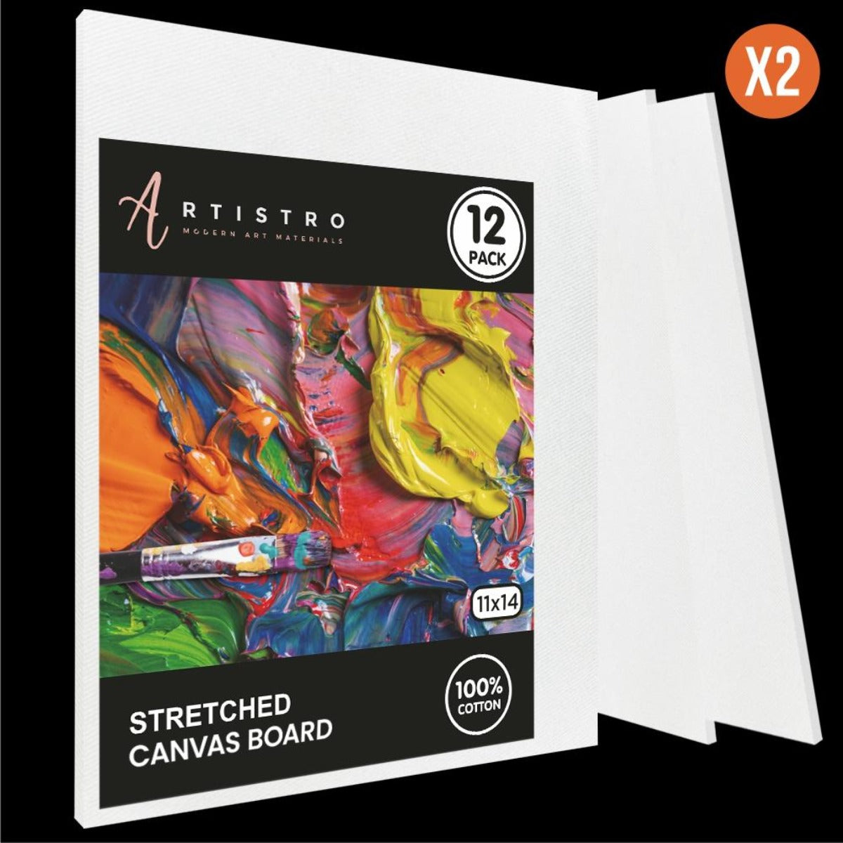 "Artistro Stretched Canvas, White, MDF board, 11x14"" - Pack of 12 - Artistro"
