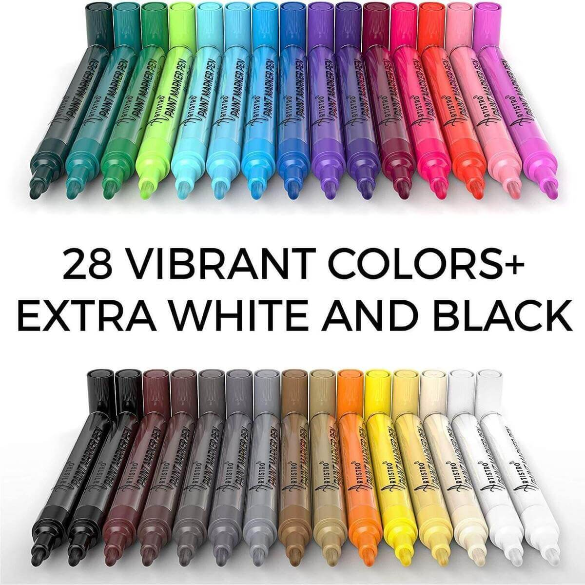 72 Acrylic Artistro Paint Pens | 42 Extra Fine Tip Markers + 30 Medium Tip Markers for Rock, Wood, Glass, Ceramic Painting - Artistro