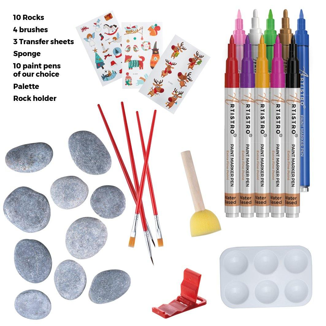 Ultimate Rock Painting Kit with 10 Artistro Paint Pens – for Kids Crafts & Adult Craft Kit