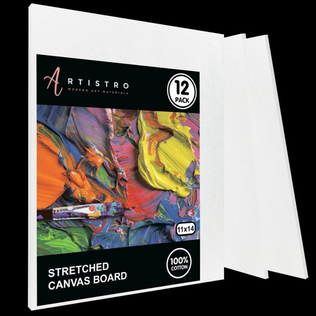 "Stretched Canvas, White, MDF board, 11x14"" - Pack of 12 - Artistro"