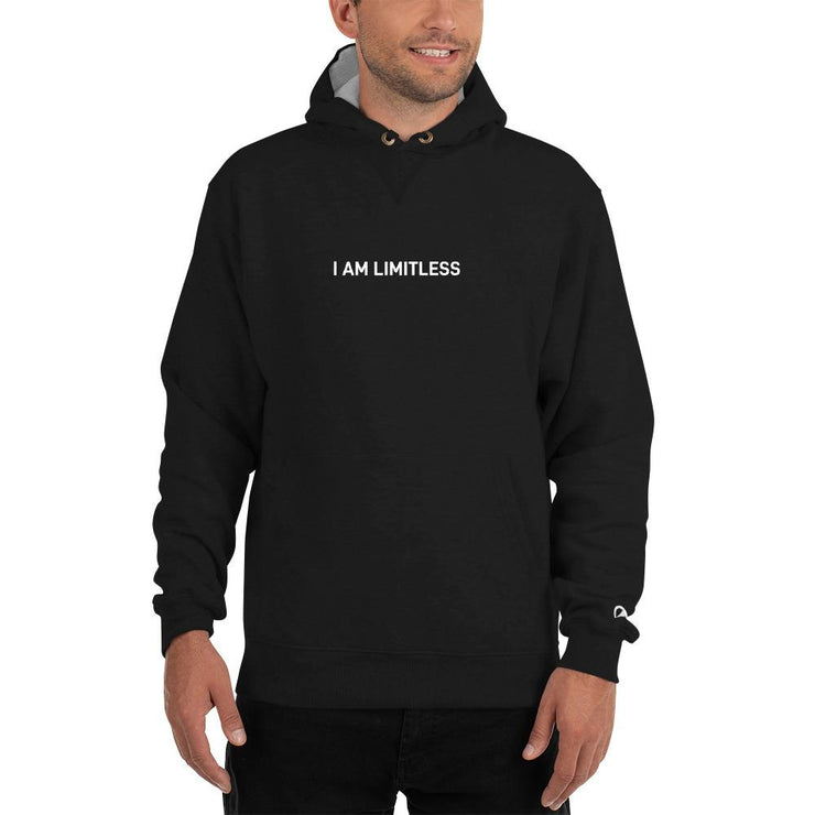 "Black Men's ""I AM LIMITLESS"" Champion Hoodie - Limitless Chiropractic"