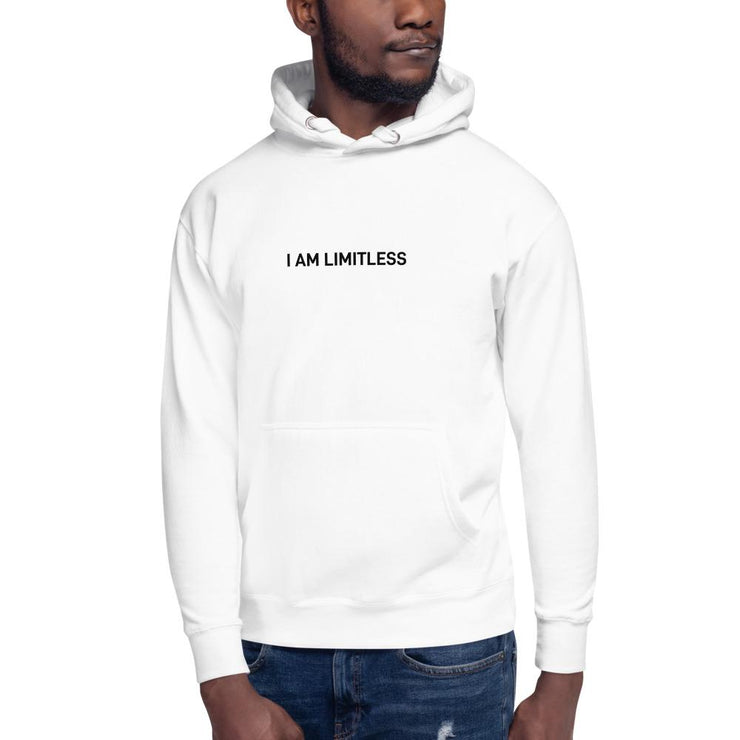 "White Men's ""I AM LIMITLESS White"" Hoodie - Limitless Chiropractic"