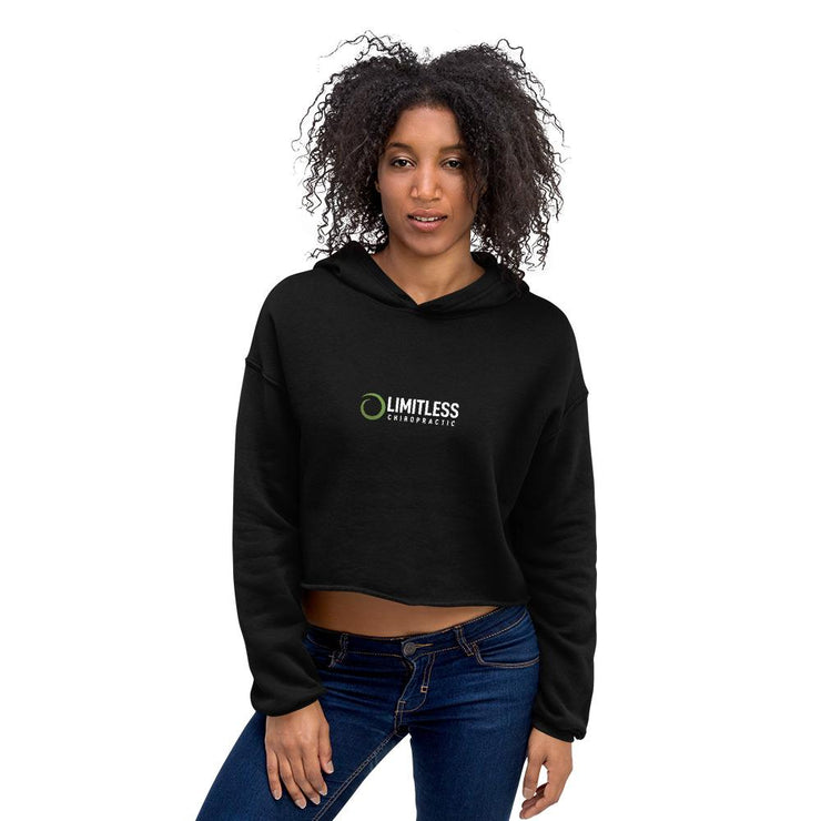 Women's Black Workout Crop Hoodie 1 - Limitless Chiropractic