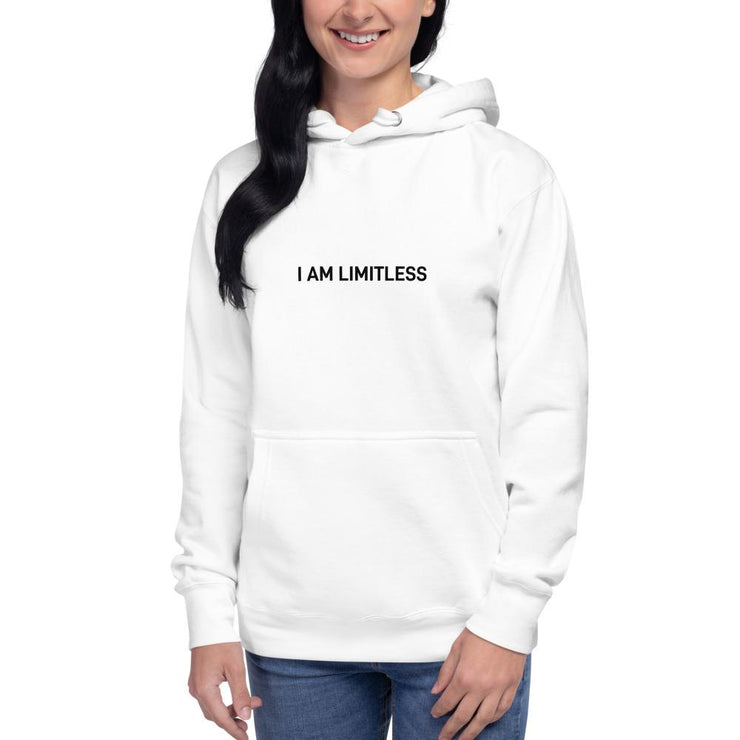 Women's White I AM LIMITLESS Hoodie - Limitless Chiropractic