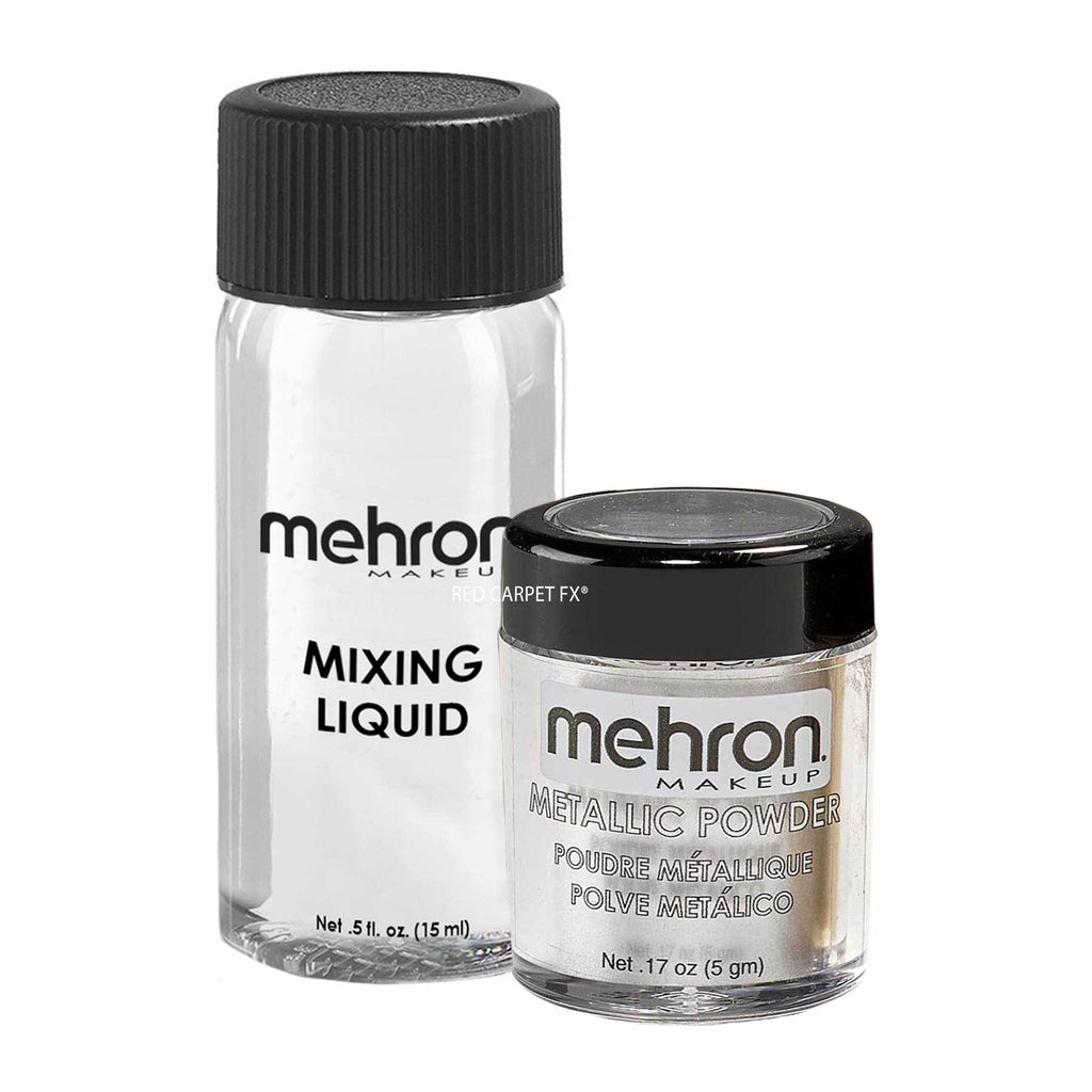 Mehron Metallic Powder Silver con Mixing Liquid