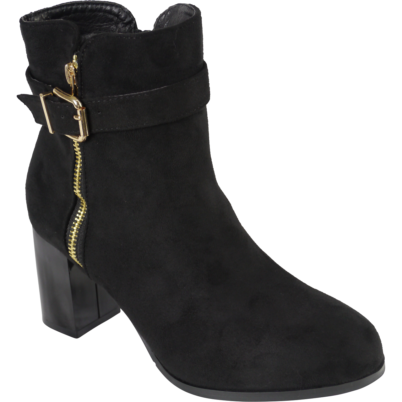 Womens Ladies Buckle Ankle Boots Side Zip Block Heeled Shoes Winter Faux Suede