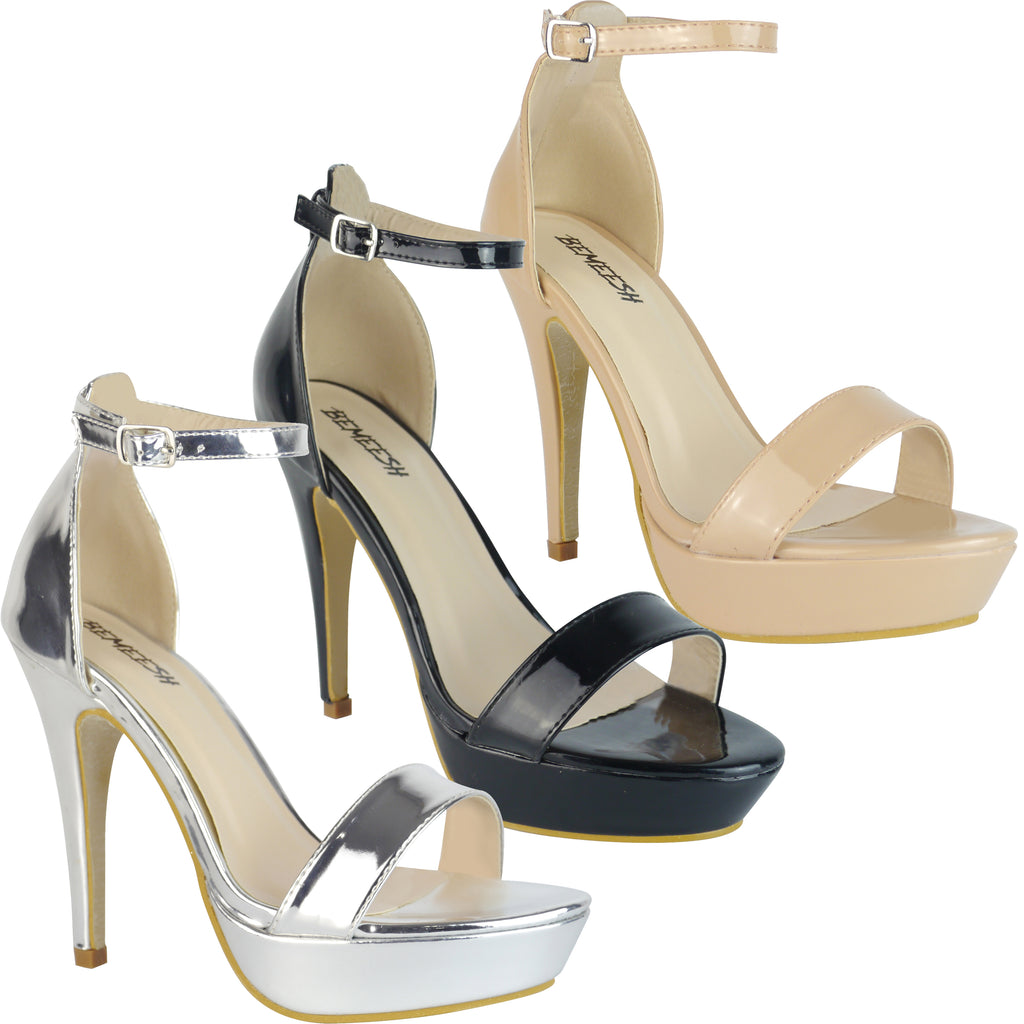 423625a3 Womens Ladies Barely There Strappy Platform Stiletto Party High Heels Shoes