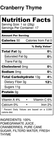 Cranberry Thyme Nutrition Label