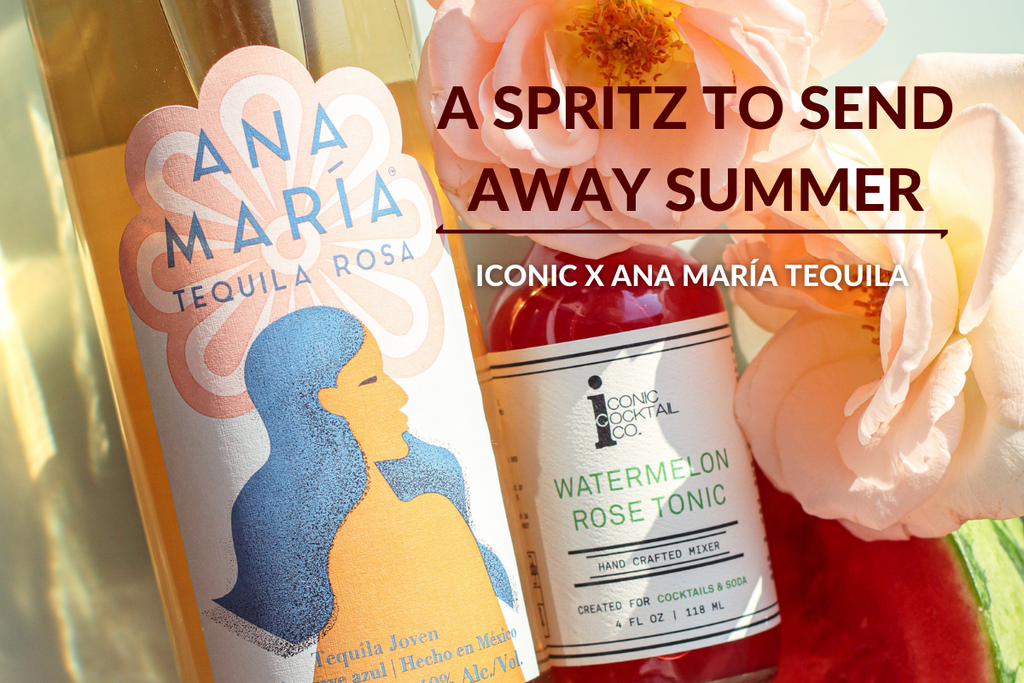 A summer spritz to send away summer made with Ana Maria Tequila and Iconic Watermelon Rose Tonic