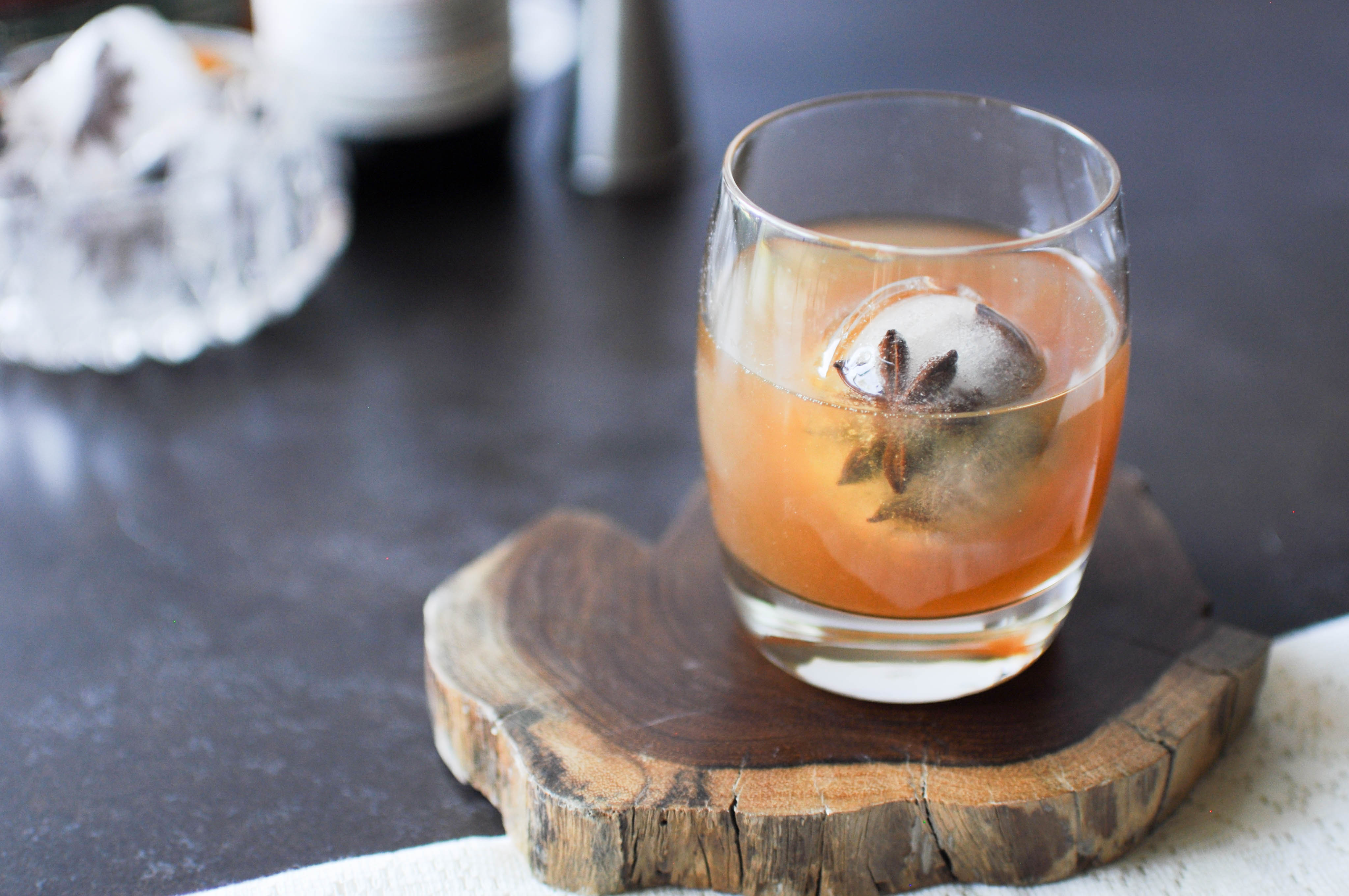 Iced Spiced Toddy made with Iconic Spiced Honey with a seasonal super cube