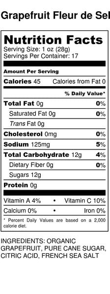 Grapefruit Fleur de Sel Nutrition Label