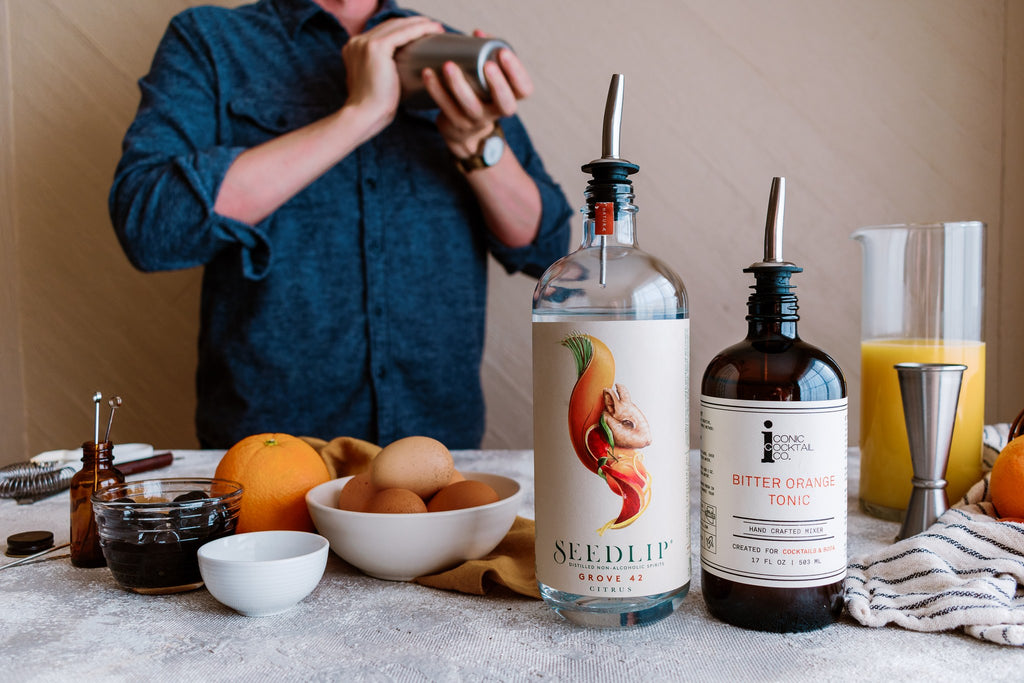 Spirit Free Mocktail made with Iconic Cocktail CO and Seedlip Spirits