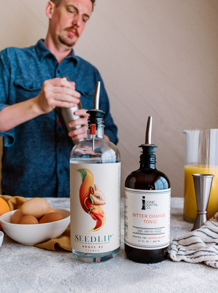 Pair Iconic Mixers with Seedlip Non-Alcoholic Distilled Spritis for flavorful and complex mocktails for anytime you're not drinking.