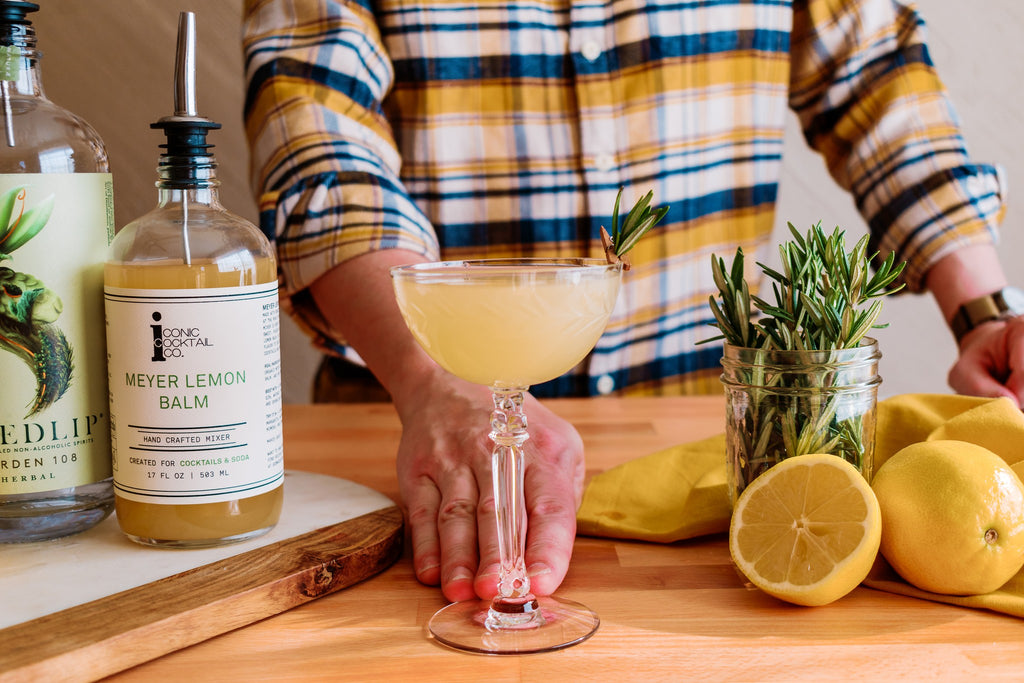 A Simple Sour mocktail recipe made with Iconic Meyer Lemon Balm and Seedlip Spirits