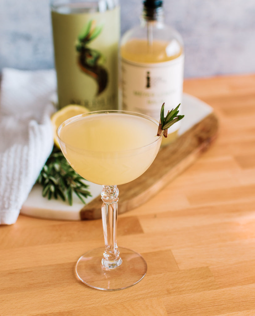 A spirit-free Garden Sour made with Iconic Meyer Lemon Balm and Seedlip Spirits.