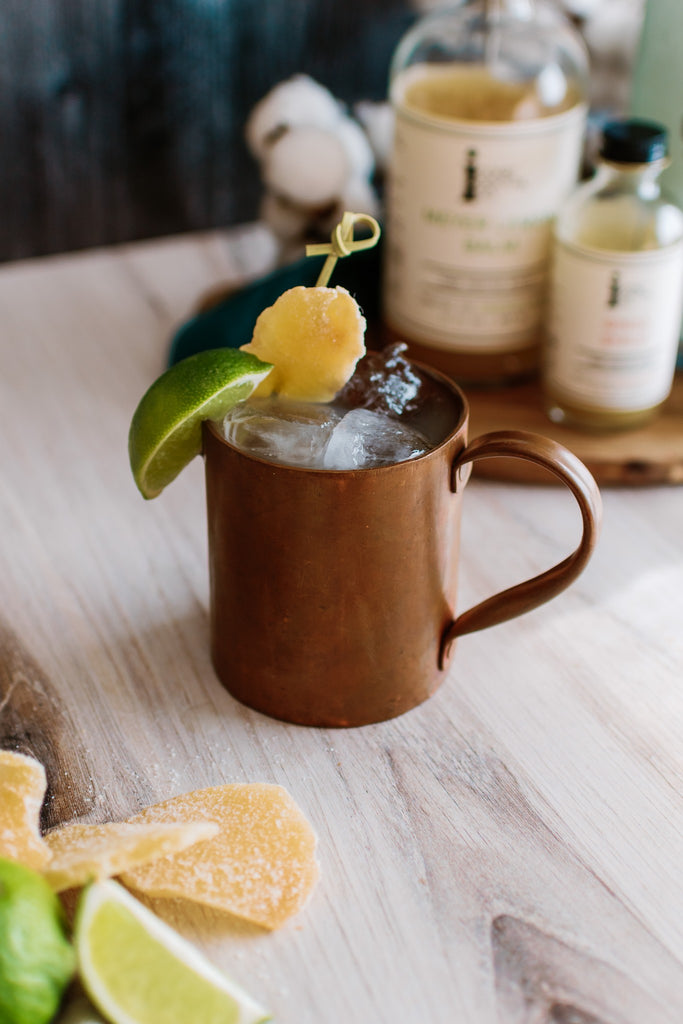 Enjoy a quality Moscow Mule (without the spirit) made with Iconic Ginga Syrup and Seedlip Spirits