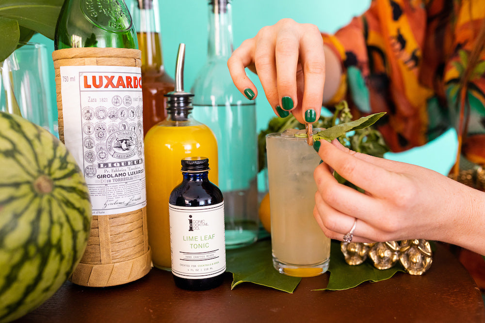 Make this simple tequila cocktail with Iconic Lime Leaf Tonic and fresh basil