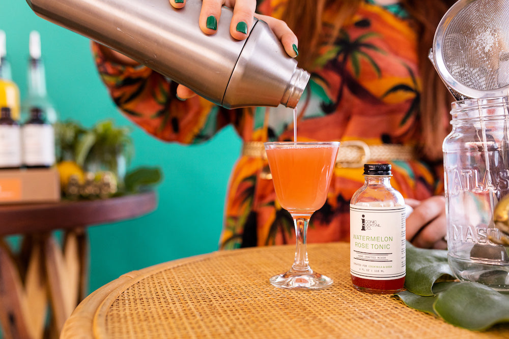 A watermelon gin cocktail made with rosé and Iconic Watermelon Rose Tonic for a light and refreshing summer treat.