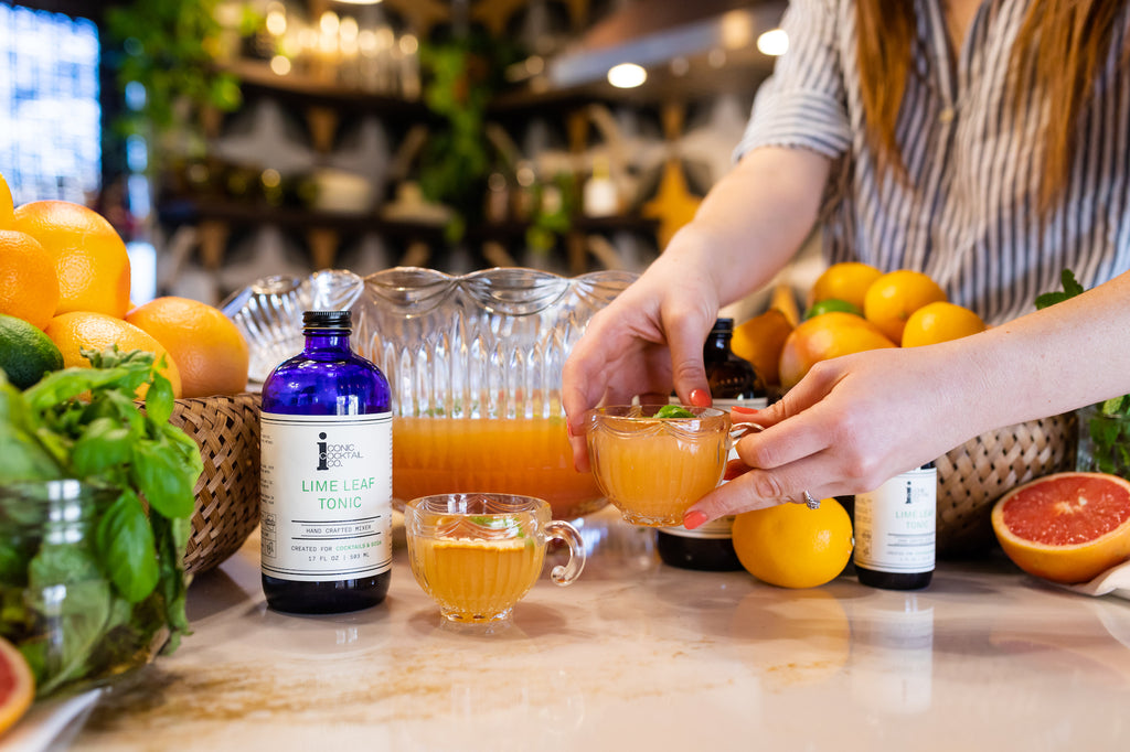 Make a spring punch perfect for easter brunch with Iconic Lime Leaf Tonic and Bitter Orange Tonic