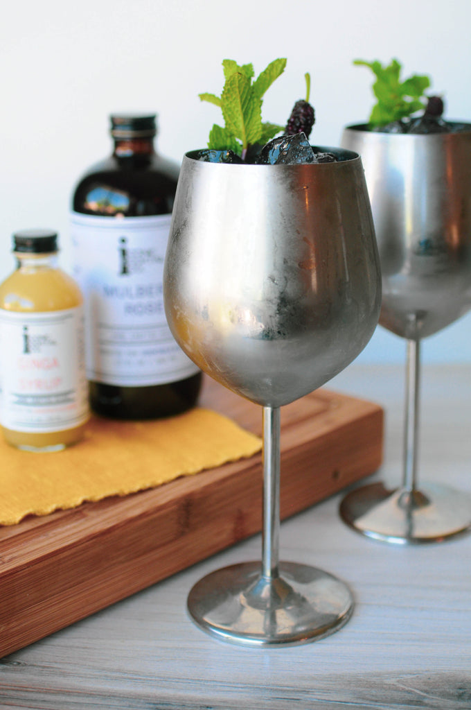 Moscow Mule made with Iconic Ginga Syrup and Iconic Mulberry Rose