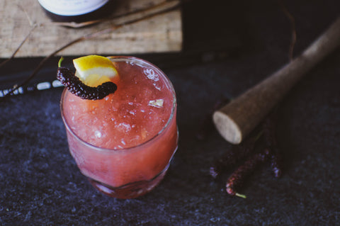Whiskey Smash cocktail recipe with Iconic Mulberry Rose