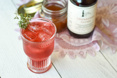 Cranberry Shrub non-alcoholic cocktail recipe with Iconic Cranberry Thyme