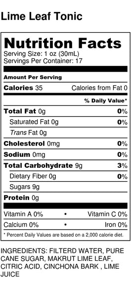 Ginga Syrup Nutrition Label