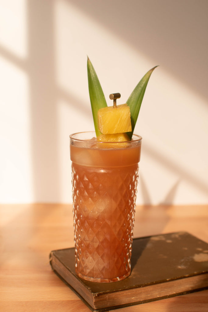 Tiki-like cocktail made with Iconic Mesquite Date and Silver Rum