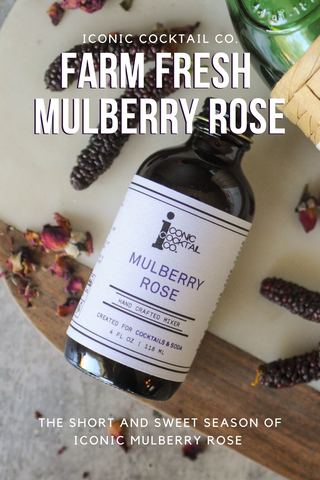 Farm fresh mulberry rose mixer from Iconic Cocktail Co