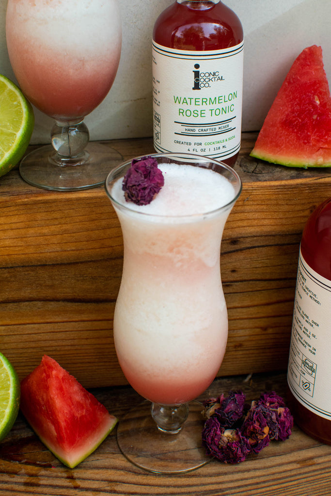 A Piña Colada made with Iconic Watermelon Rose Tonic instead of pineapple!