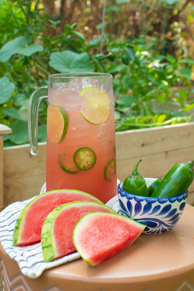 A pitcher of spicy Watermelon Margaritas perfect for National Watermelon Month