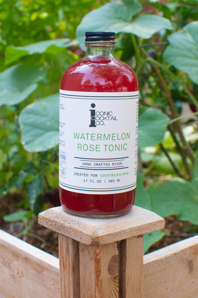 Iconic Watermelon Rose Tonic made with juicy watermelon and floral rose petal for unique summer cocktails and refreshing mocktails