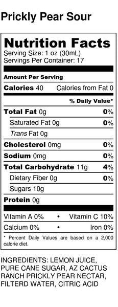 Prickly Pear Sour Nutrition Label