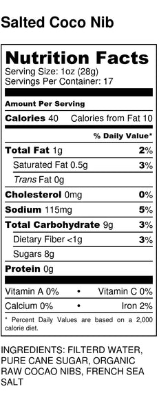 Salted Cocoa Nib Nutrition Label