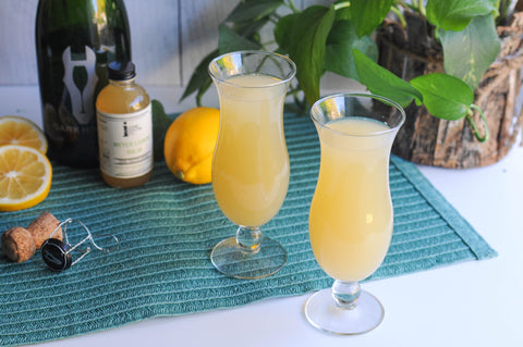 Mimosa made with Iconic Meyer Lemon Balm instead of OJ for a brighter brunch cocktails.