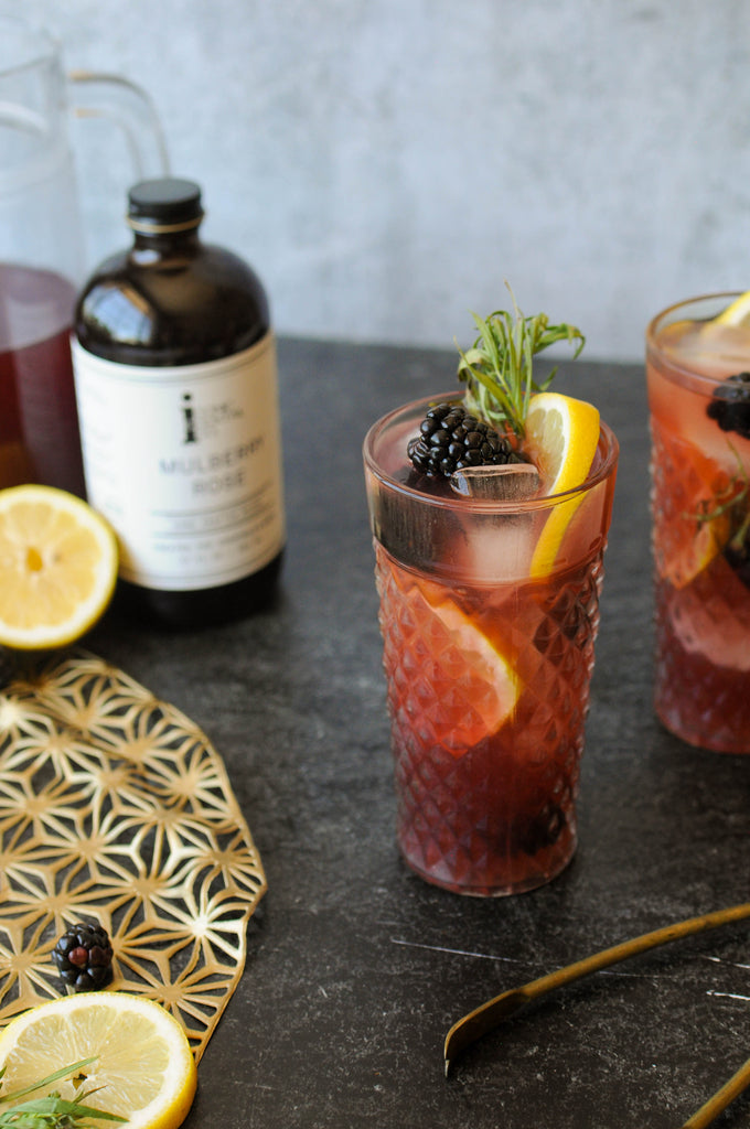 red sangria made with iconic mulberry rose