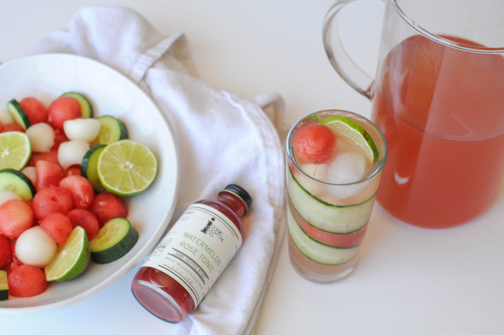 white rosé sangria recipe made with Iconic Watermelon Rose Tonic