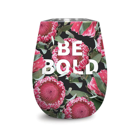 Studio Oh! - Wine Tumbler - BE BOLD - 12 oz. Floral Expressions Insulated Stainless-Steel