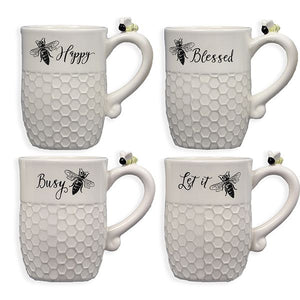 Two Charmed Gals Ceramic Bee Mug Set