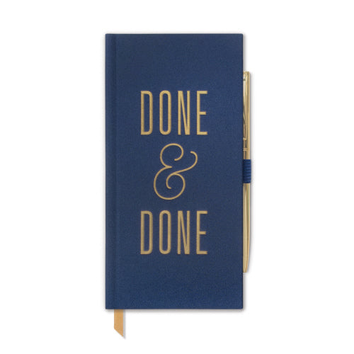 "Journal Collection - ""DONE & DONE"" Navy Skinny Journal with Pen"